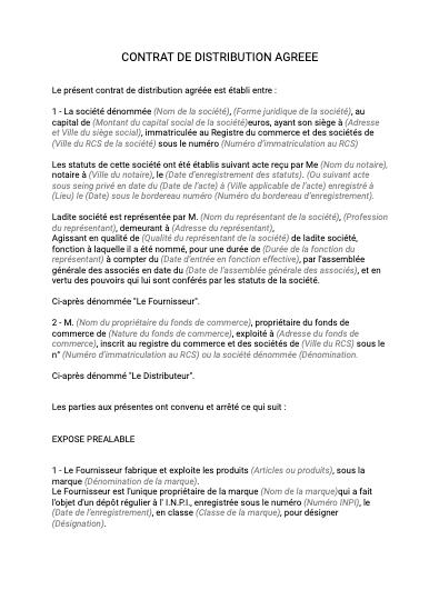 Contrat de distribution agreement