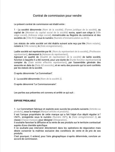 Contrat de commission pour vendre