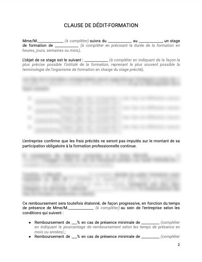 CDI clause de dedit formation