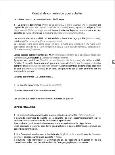 Contrat de commission pour acheter