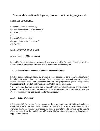 Contrat de création de logiciel
