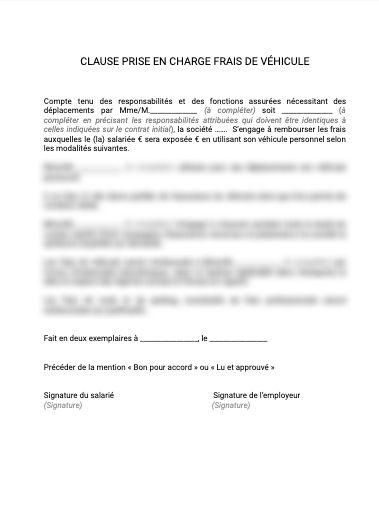 Contrat de travail clause de prise en charge des frais du véhicule