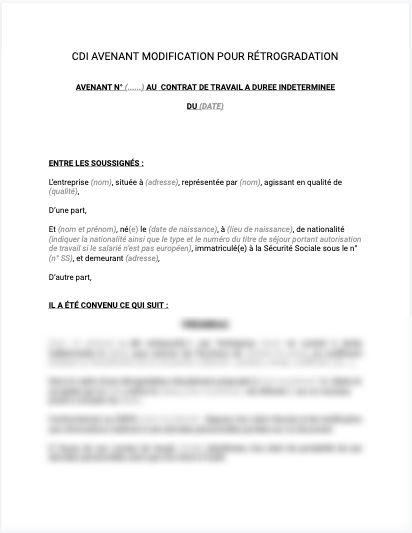 Avenant au contrat de travail pour rétrogadation disciplinaire
