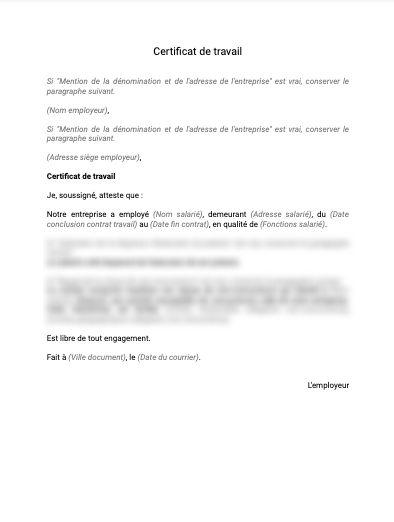 Certificat de travail