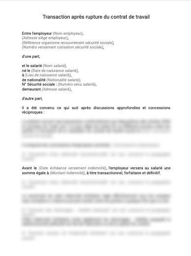 Transaction cessation contrat de travail