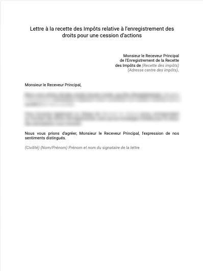 Lettre d'enregistrement droit cession d'action