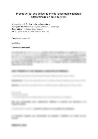 Procès verbal délibération liquidation judiciaire