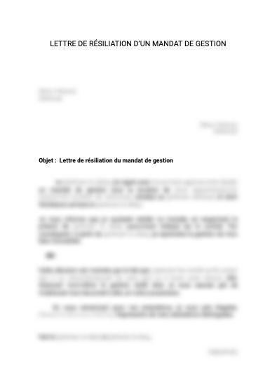 Lettre de résiliation de mandat de gestion locative