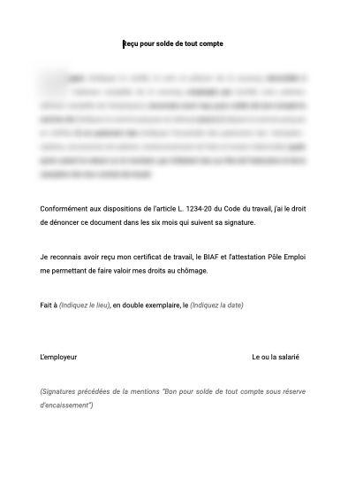Recu Pour Solde De Tout Compte Pour Nounou Document Et Modele A Telecharger