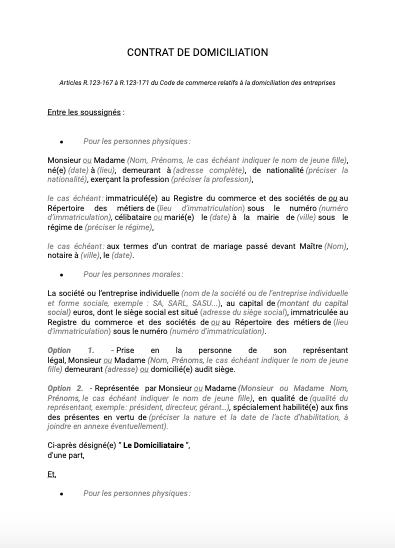 Contrat de domiciliation