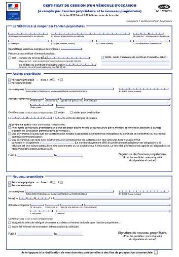 Certificat de cession d'un véhicule d'occasion