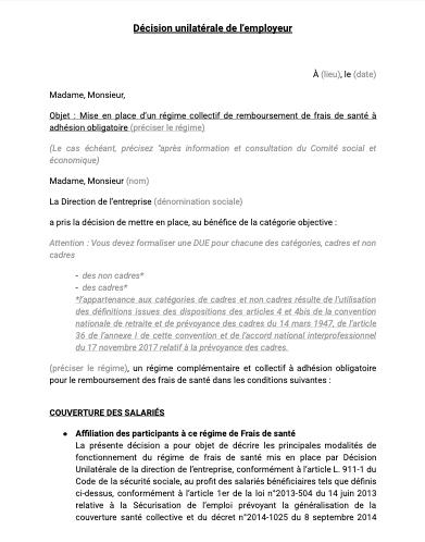 Décision unilatérale de l'employeur complémentaire santé