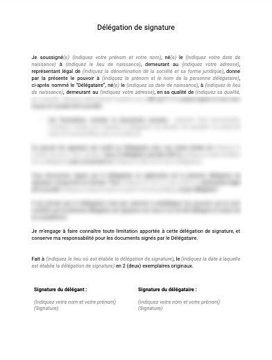 Delegation De Signature Document Et Modele A Telecharger