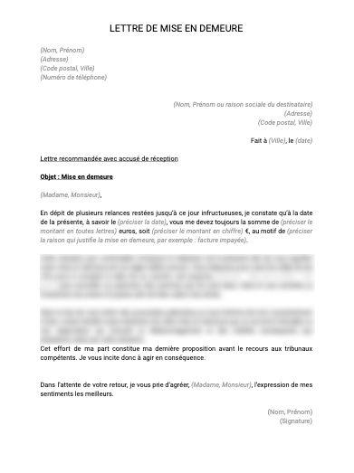 Lettre de mise en demeure - document et modèle à télécharger