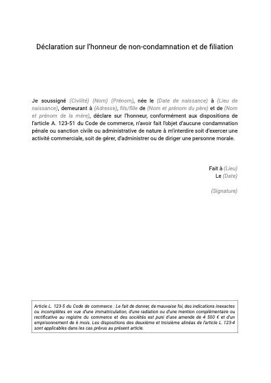 Déclaration sur l'honneur de non-condamnation
