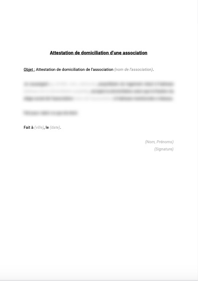 Attestation de domiciliation d'une association
