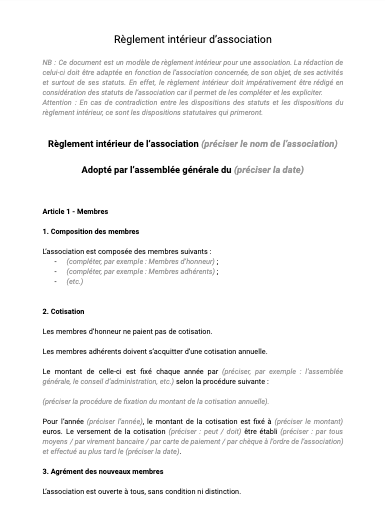 Reglement Interieur D Association Document Et Modele A Telecharger