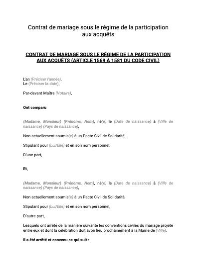 Contrat de mariage participation aux acquêts