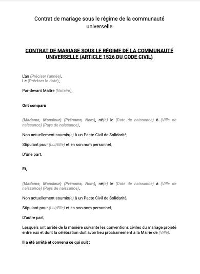 Contrat de mariage communauté universelle
