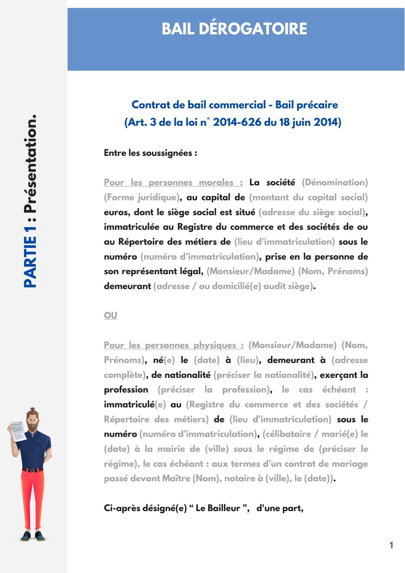 Bail commercial précaire (bail dérogatoire)