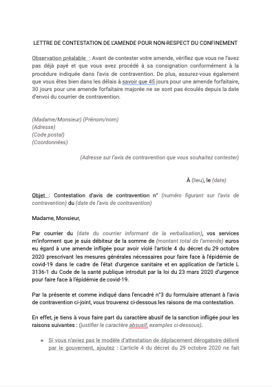 Lettre de contestation de l'amende pour non-respect du confinement