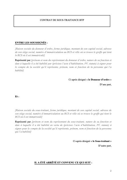Contrat de sous-traitance btp