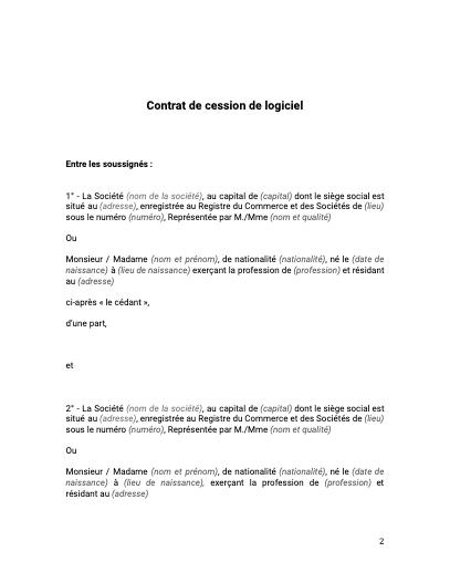 Contrat de cession de logiciel