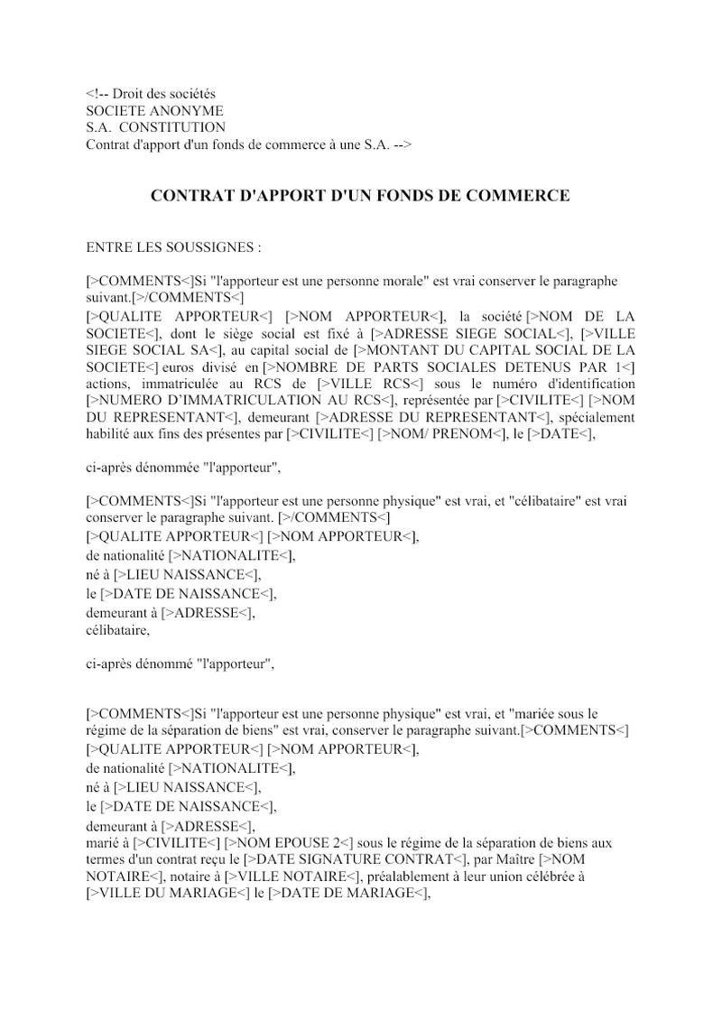 Contrat d'apport d'un fonds de commerce à une S.A.