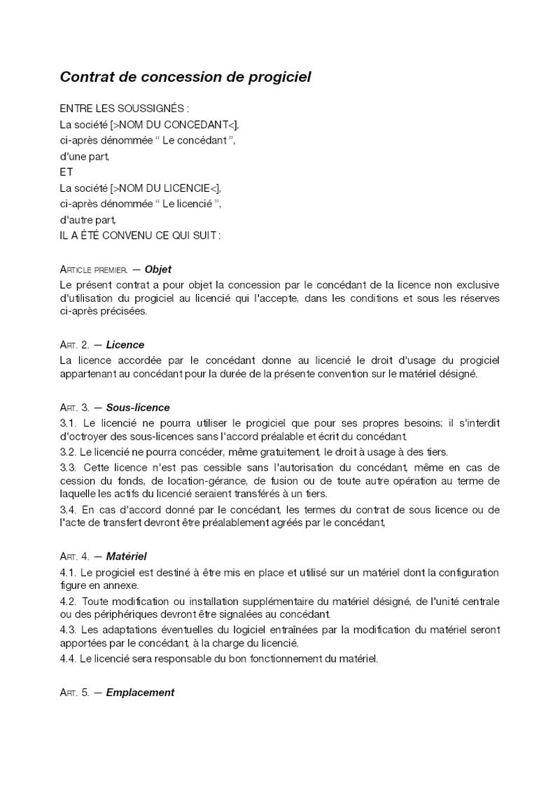 Contrat de concession de progiciel