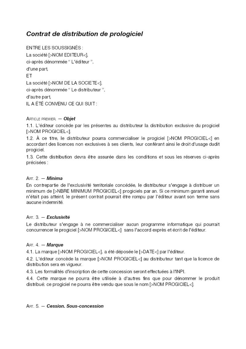 Contrat de distribution de progiciel