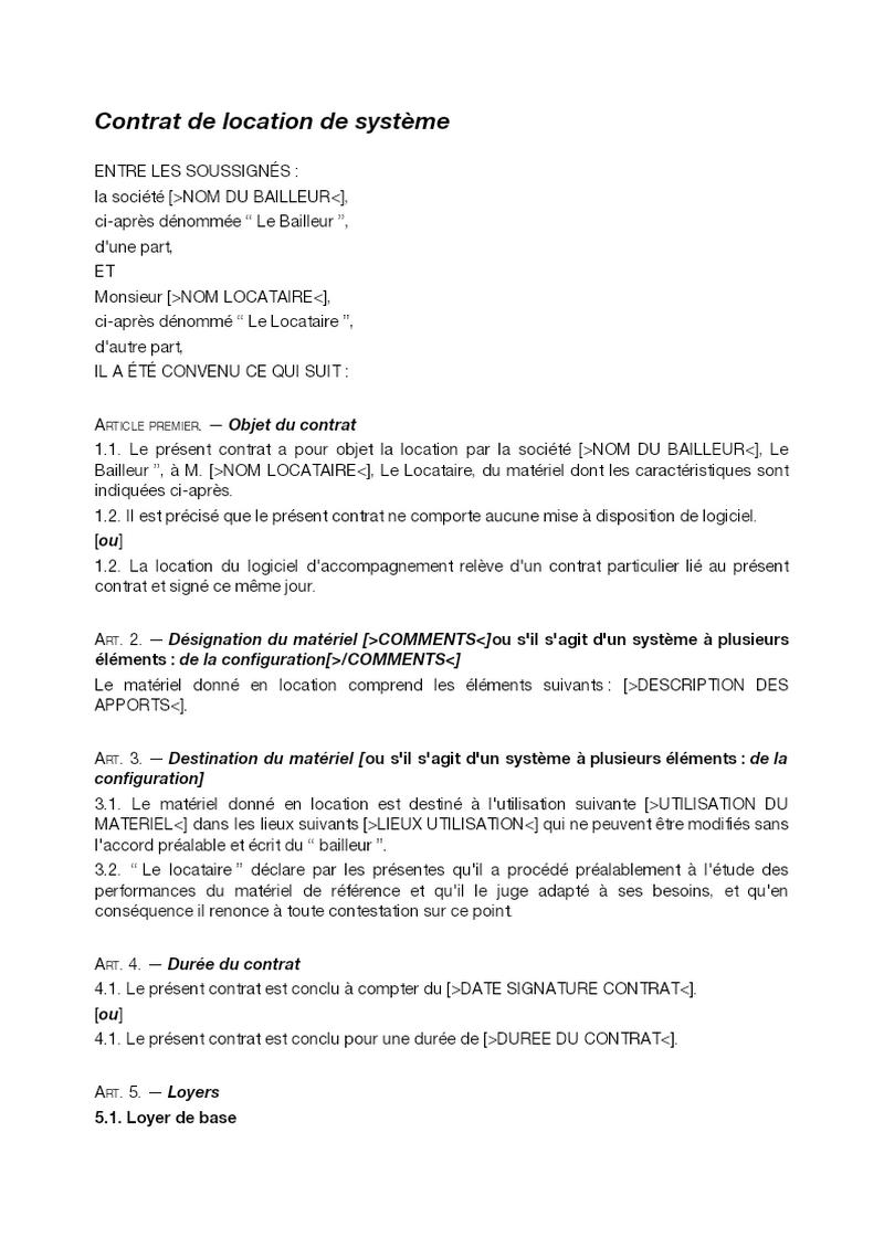 Contrat de location de système