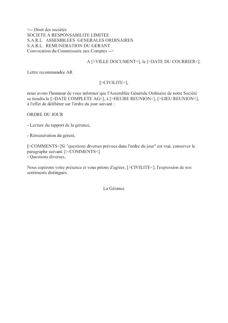 Convocation du Commissaire aux Comptes AGO SARL