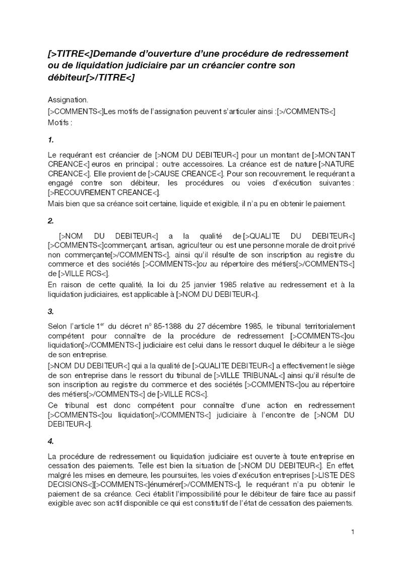 Demande d'ouverture d'une procédure de redressement ou de liquidation judiciaire par un créancier contre son débiteur