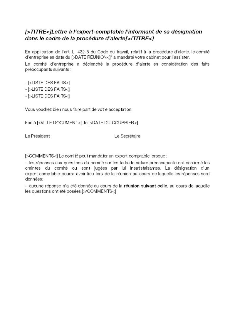 Lettre à l'expert-comptable l'informant de sa désignation dans le cadre de la procédure d'alerte