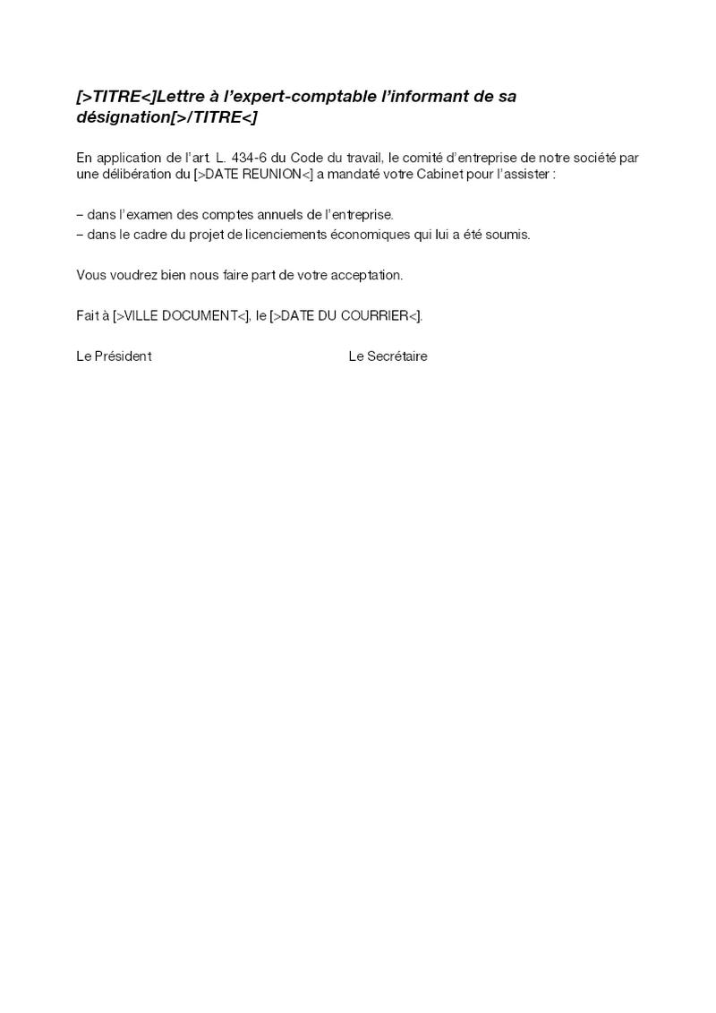 Lettre à l'expert-comptable l'informant de sa désignation