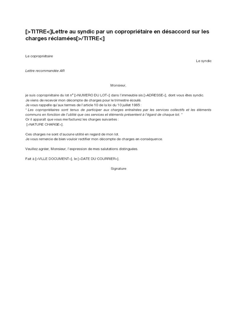 Lettre au syndic par un copropriétaire en désaccord sur les charges réclamées