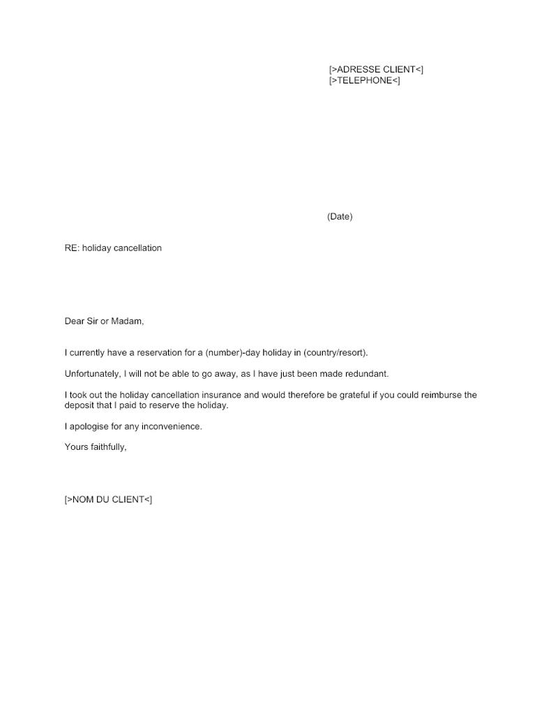Lettre d'annulation de réservation vacances (Anglais)