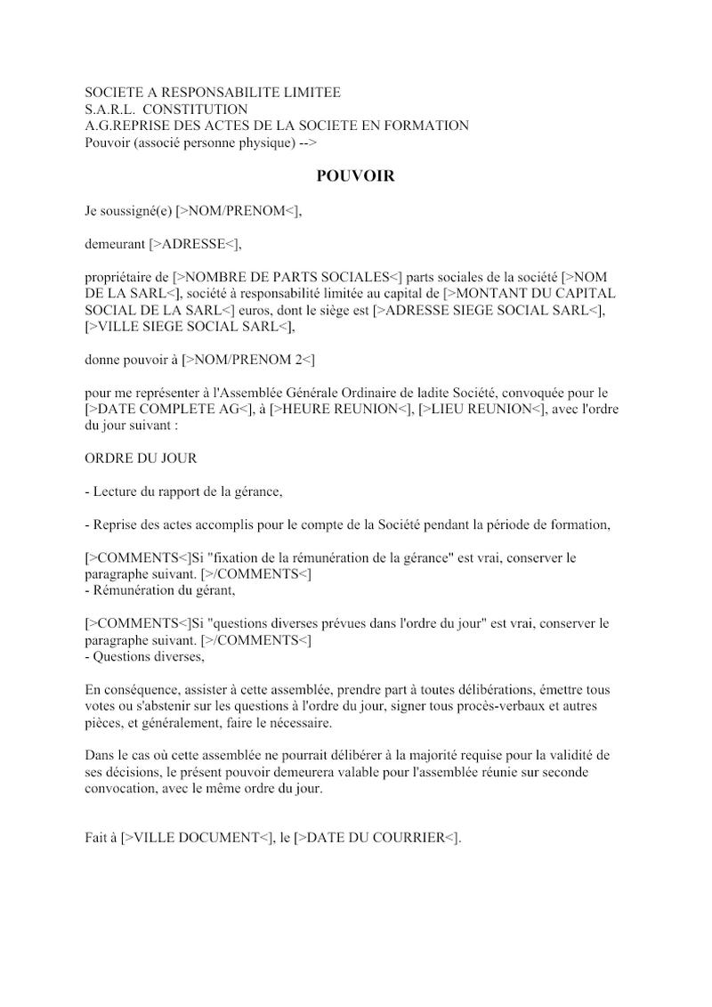 Pouvoir (associé personne physique) constitution SARL