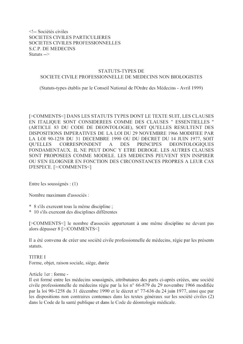 Statuts SCP Medecins