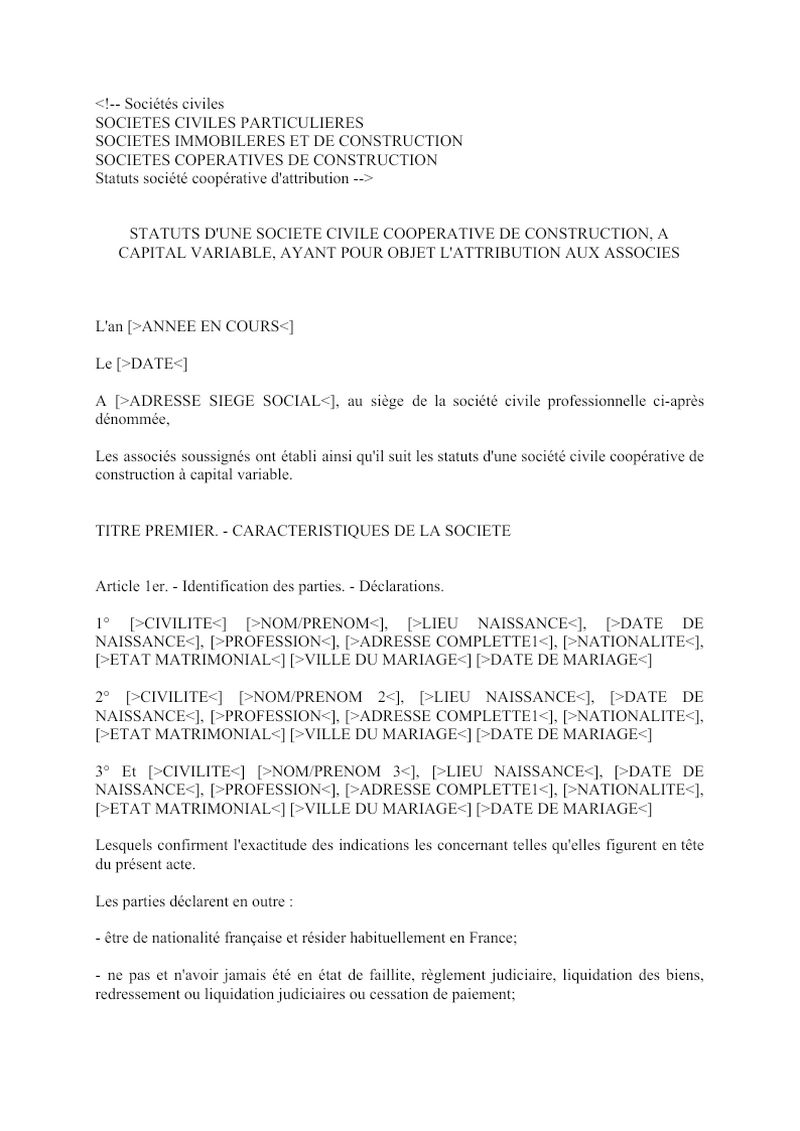 Statuts société coopérative d'attribution