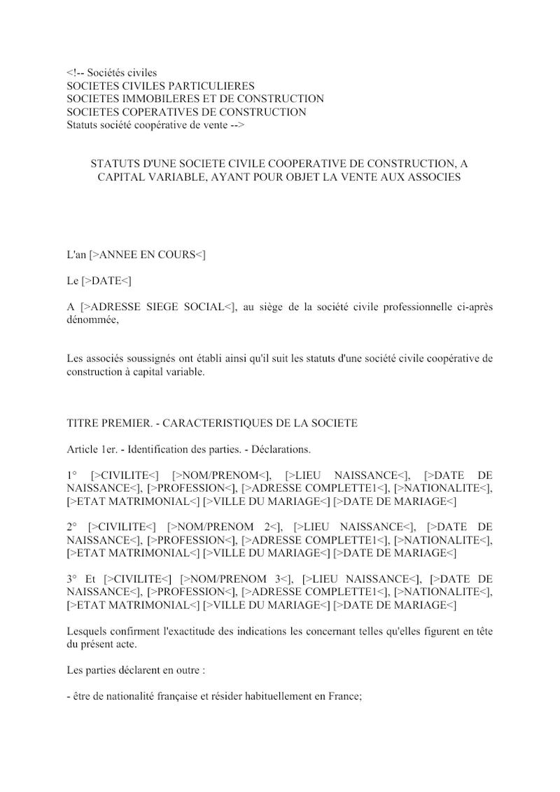 Statuts société coopérative de vente