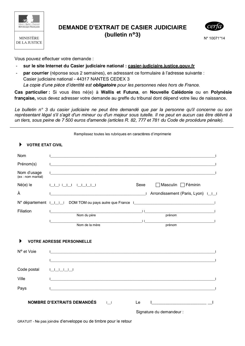 Formulaire_10071*14 : Demande d'extrait de casier judiciaire (bulletin n°3)