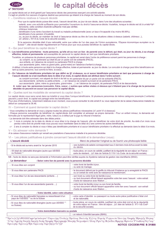 Formulaire_10431*05 : Demande de capital décès - Déclaration à remplir par le demandeur