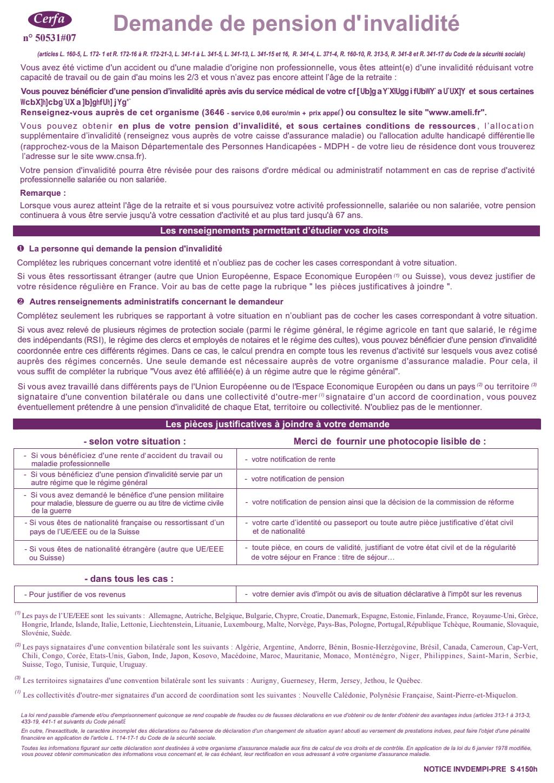 Formulaire_11174*05 : Demande de pension d'invalidité