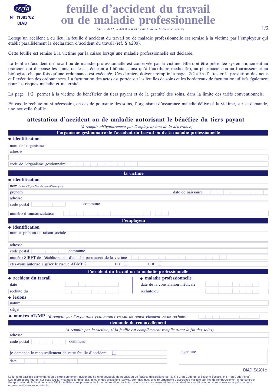 Formulaire_11383*02 : Feuille d'accident du travail ou de maladie professionnelle (spécimen)