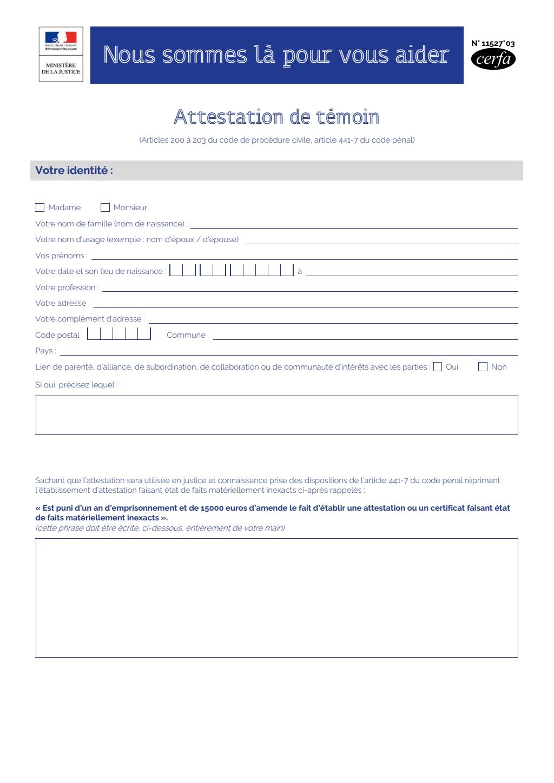 Formulaire_11527*03 : Modèle d'attestation de témoin