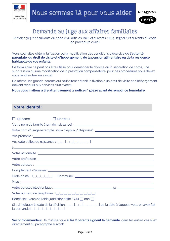 Formulaire_11530*08 : Demande au juge aux affaires familiales (autorité parentale, droit de visite, pension alimentaire...)