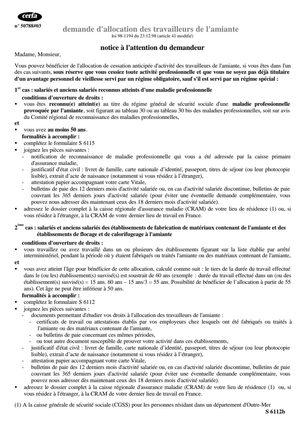 Formulaire_11687*02 : Demande d'allocation des salariés et anciens salariés des établissements de fabrication ou de traitement de l'amiante