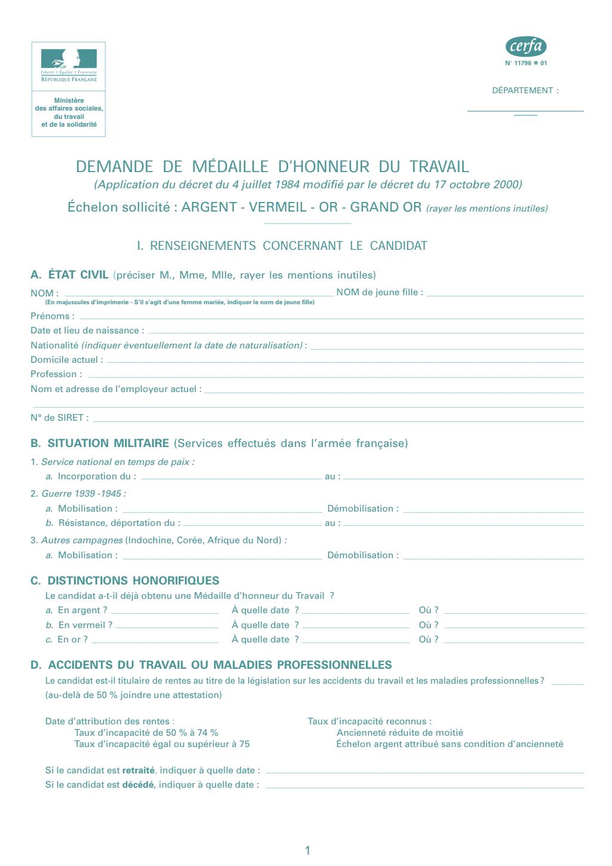 Formulaire_11796*01 : Demande de médaille d'honneur du travail