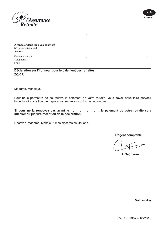 Formulaire_11830*02 : Déclaration sur l'honneur pour le paiement des retraites